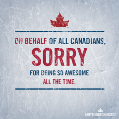 Apologizing for winning 3 gold medals in 3 days is so Canadian of me, eh?